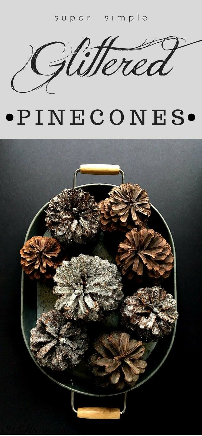 Simple Glittered pinecones are quick and easy - and I want to use them all over my house! Hanging as garland, perched in a beautiful bowl, or just set out for display. Pinecones are versatile and are the quintessential winter home decor.