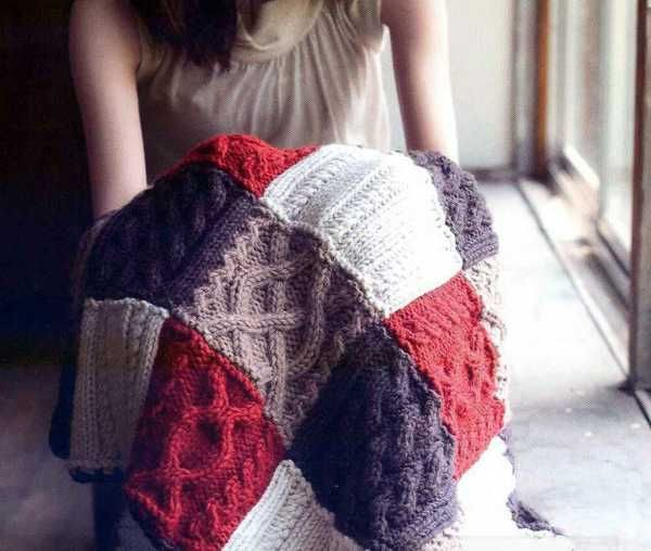 cable knit throw blanket with patchwork fabric design