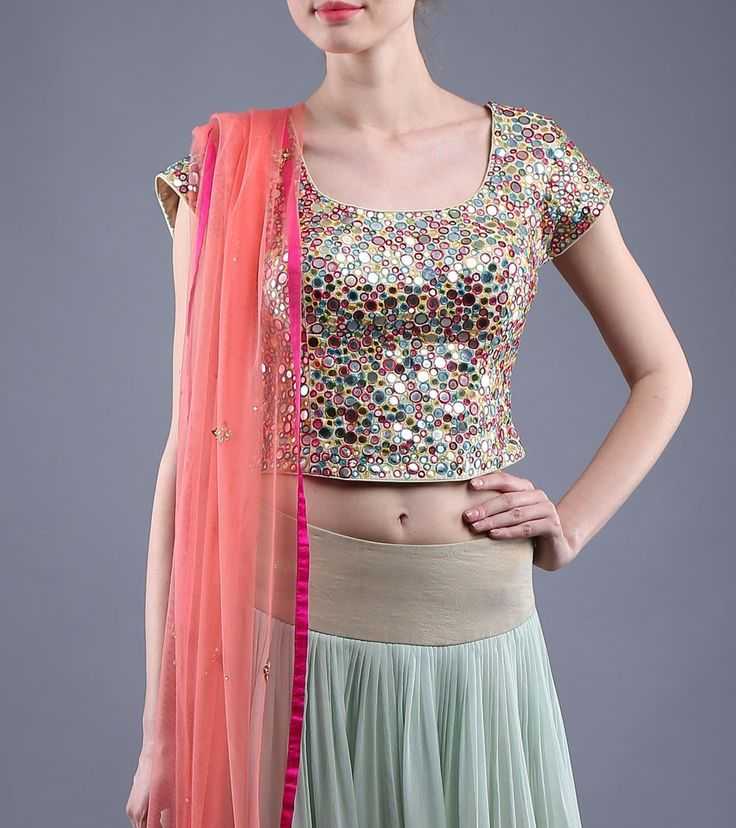 Multicoloured Raw Silk Blouse With Mirror Work