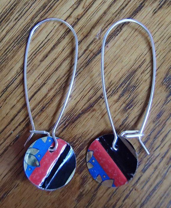 Repurposed Metal Earrings.  Red Blue Black & Gold.