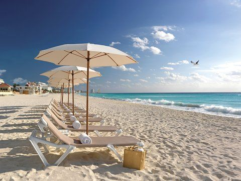 Chairs on the beach at  Beach Palace in Cancun #travel