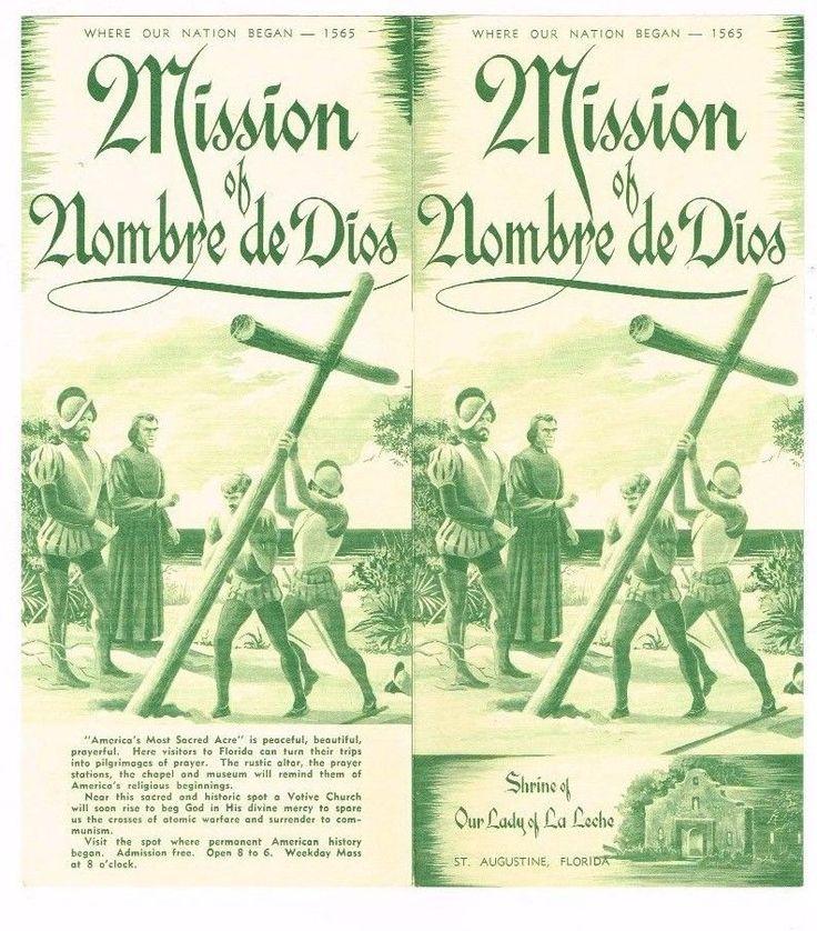 Vintage Florida Travel Brochure Mission Nombre de Dios Lady La Leche Shrine