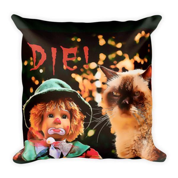 Mad Cat - Die Human I'm NOT grumpy! Created by Casemiro Arts If you don't want to be seen as a #square in your home decor choices, you may want to go for a #rectangular #pillow #bedroom #decor #cats #cat #doll #clown #sad