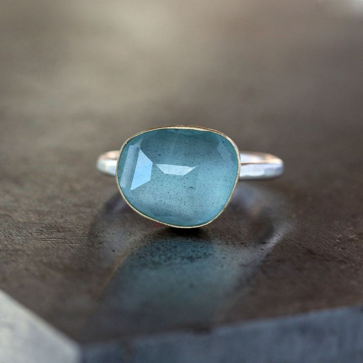 Rose Cut Aquamarine Ring, 18k Yellow Gold, March Birthstone, Organic Shape, Sterling Silver Band, Gemstone Solitaire, Statement Ring by ShopClementine on Etsy