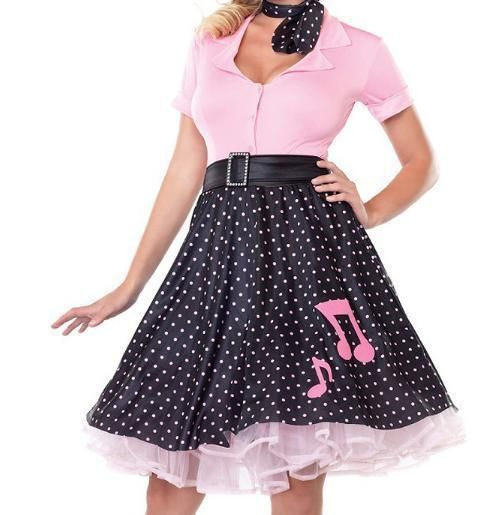 New Cute Ladies Poodle Costume 50s Grease Sandy Poodle Skirt Top Set Fancy Dress