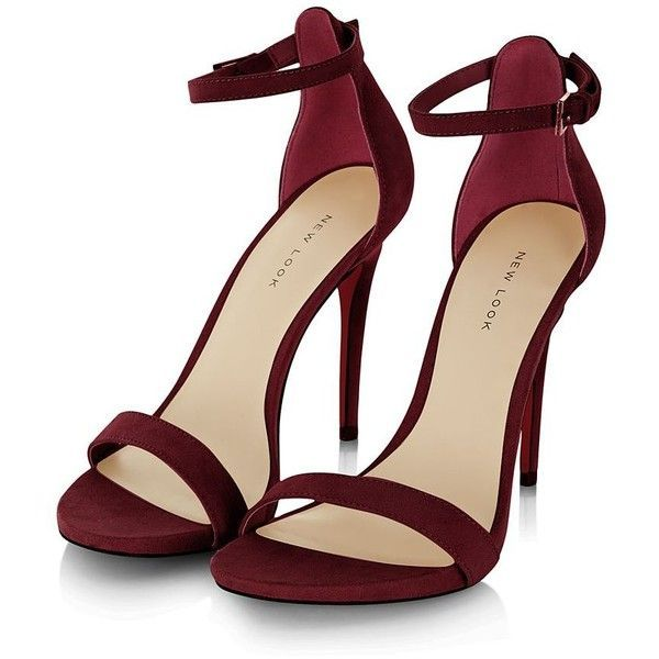 Dark Red Suede Ankle Strap Heels and other apparel, accessories and trends. Brow...