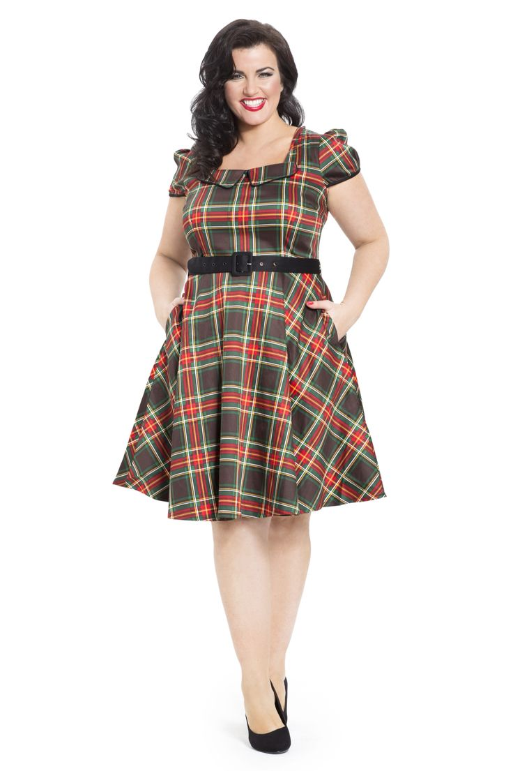 A timeless tartan classic - the Emmie dress comes with fitted belt & flattering fit & flare cut. Available online in sizes 16-26 -->  http://www.claireabellascloset.co.uk/vintage/vintage-plus-size/product/1602-voodoo-vixen-emmie-tartan-dress-plus-size-16-26