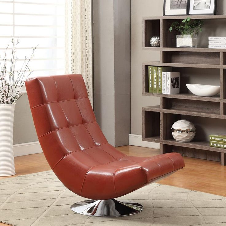 Armen Living Mario Bonded Leather Armless Swivel Club Chair