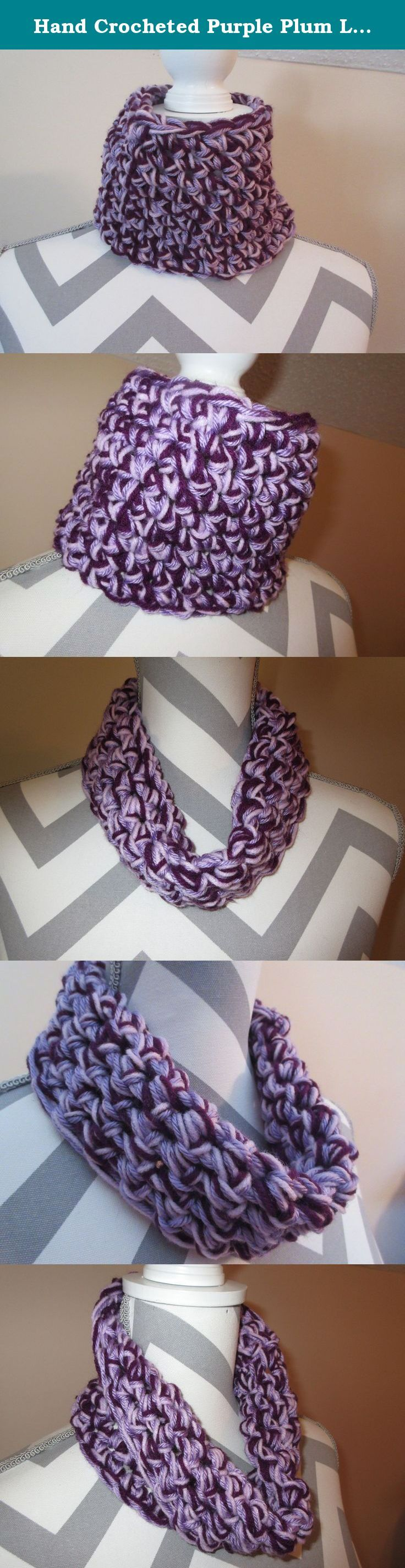 Hand Crocheted Purple Plum Lilac Lavender Chunky Cowl Scarf Tunnel Neck Warmer Design by Ladies Fashion Infinity Fall Winter OSFA Handmade Gift for Her Gift Bag and Ribbon Included. Handmade Super Soft Plum Purple, Lilac and Lavender Shades Tunnel Cowl Neck Warmer Scarf Hand Crocheted Cowl Infinity Design 20 inches circumference (hand crocheted together in one loop 5 1/2 inches tall can be worn as a neck warmer or turned down as a very soft warm scarf). Super soft luxe acrylic yarn…