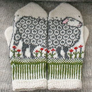 Mittens with sheep and ram in poppy field. Beautiful and soft mittens with a distinctive design.