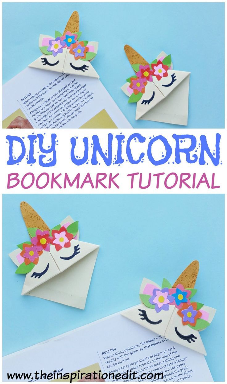Tutoriel de bricolage Licorne Signet # Bookmark #Unicorn #Kidscrafts #unicorncra…
