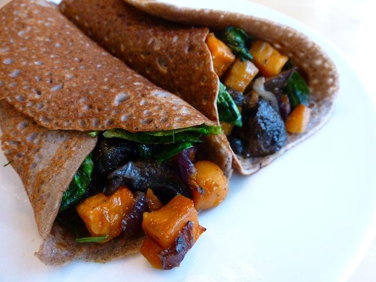 Savory Buckwheat Crepes with Roasted Sweet Potato, Mushroom and Kale Filling (by Angela @ Angela's Kitchen)