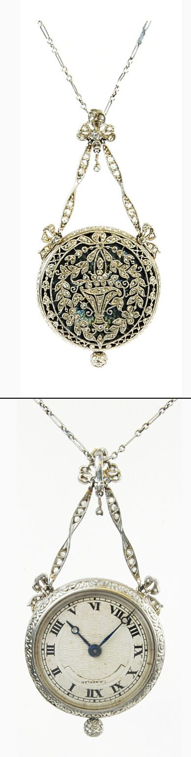 167 best antique vintage ladies watches images on pinterest chylan platinum and diamond set pendant watch mozeypictures Images