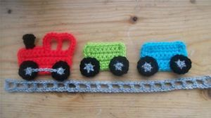 boy crochet applique | hand-crochet-train-applique-boy-car-motif-embellish