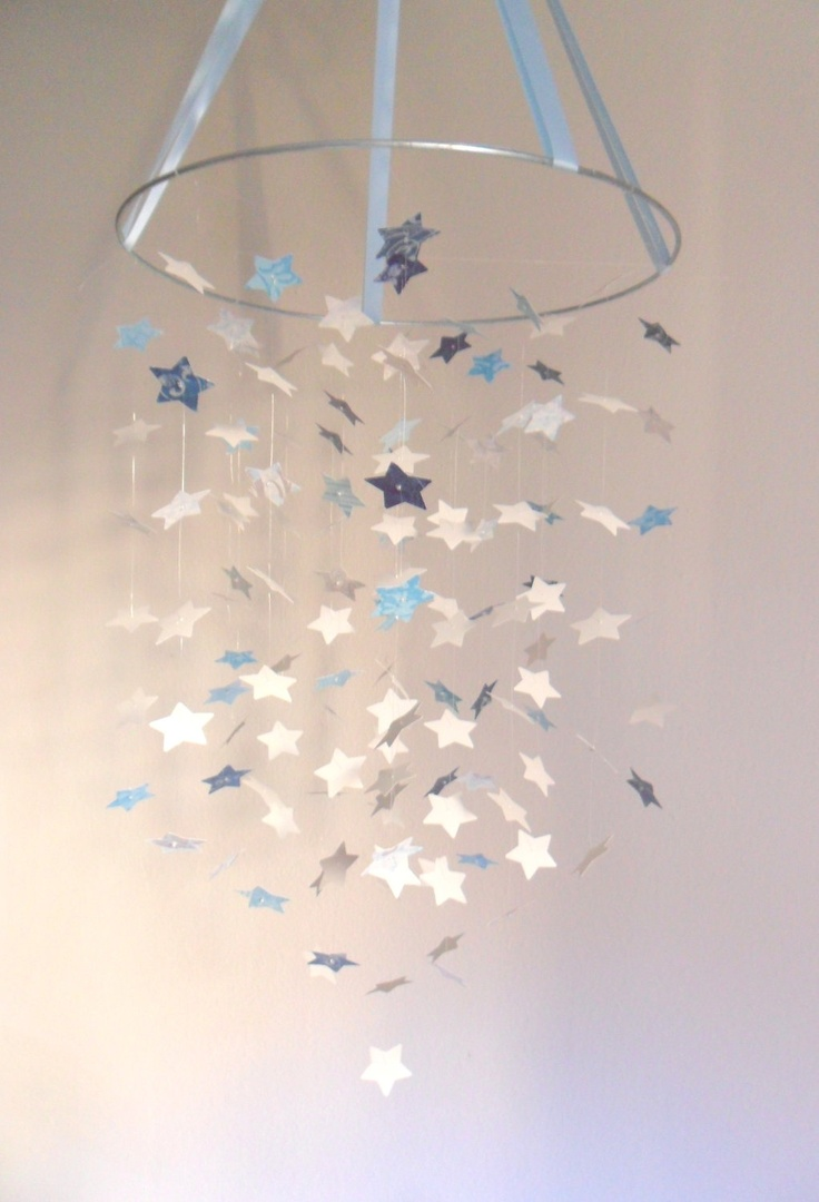 The shabby chic boy star mobile diy kit nursery decor for Baby boy shower decoration kits