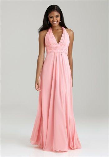 Allure Bridesmaids Bridesmaid Dress // Style 1322 // A-line Halter, floor length dress in chiffon