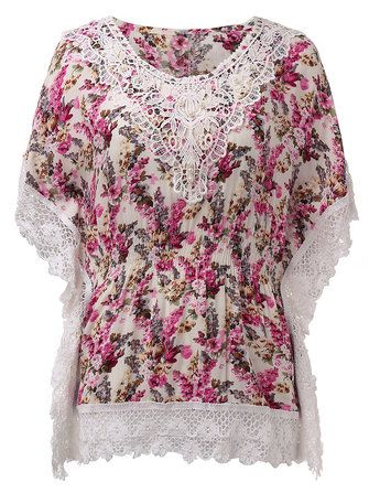 Casual Women Lace Crochet Patchwork Batwing Sleeve Floral Printed Blouse