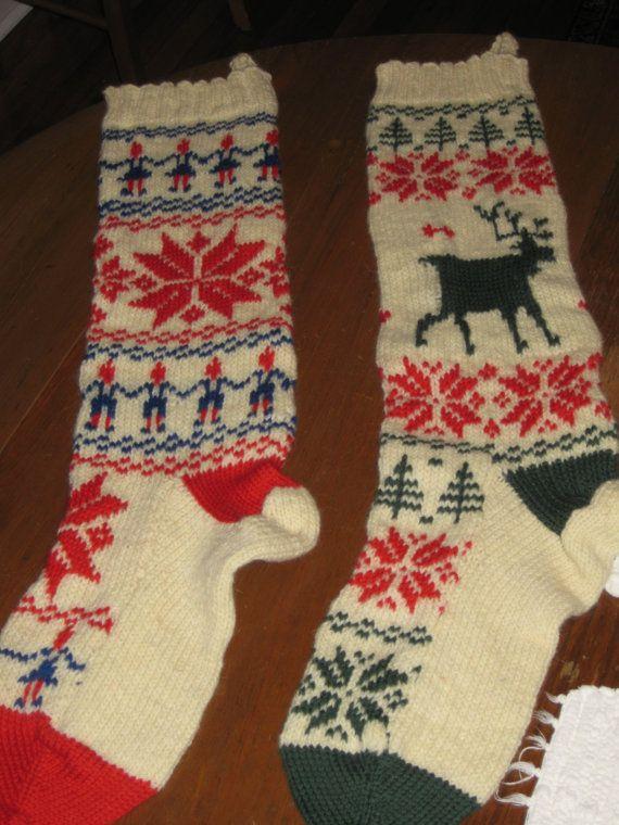 Knit Christmas Norwegian Stocking Set Vintage Knitting PDF PATTERN - Set of 2 padurns