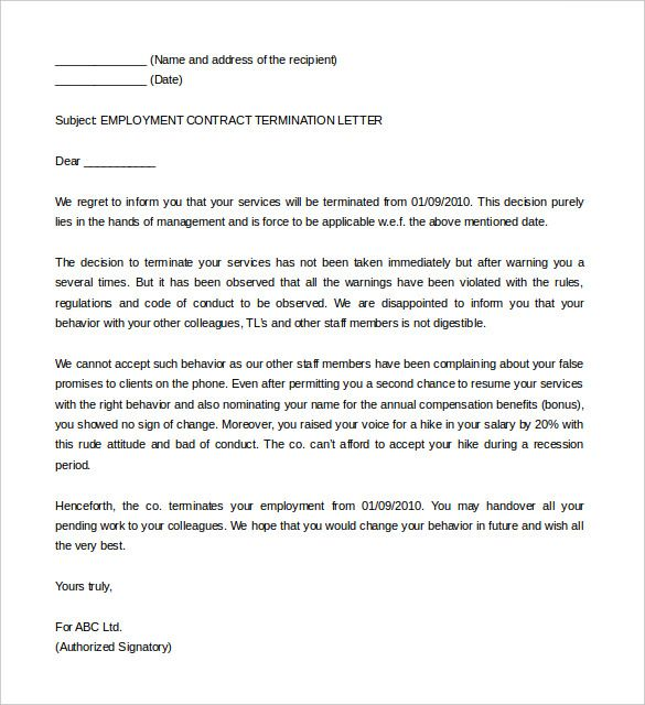 Sample Employment Contract Service Termination Letter Template