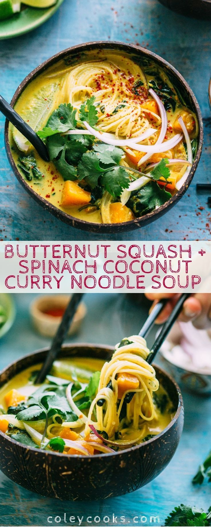 Coconut Curry Noodle Soup with Butternut Squash + Spinach