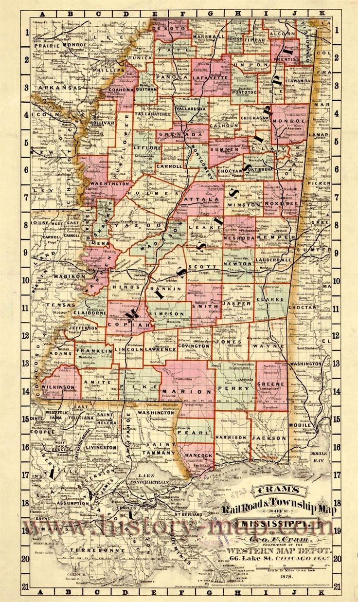 Mississippi S First Interracial Couple August 3 1970: Cram's Railroad & Township Map
