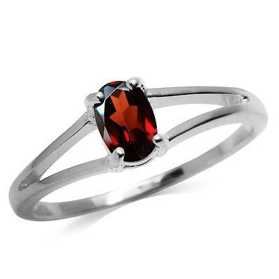 Natural Garnet 925 Sterling Silver Solitaire Ring SZ 6