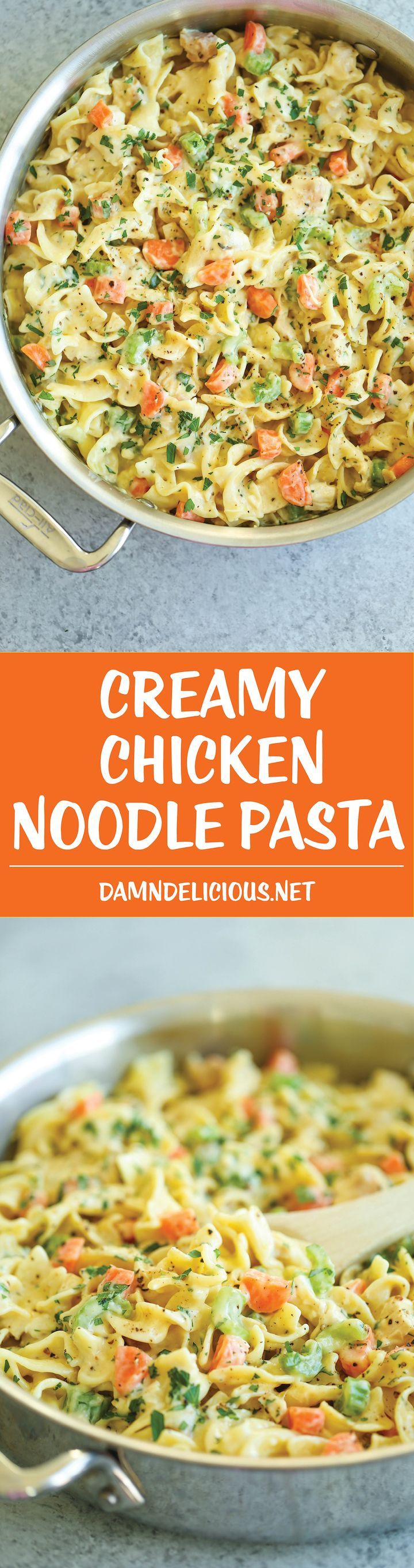 Creamy Chicken Noodle Pasta - This is like everyone's favorite chicken noodle soup except in creamy, melt-in-your-mouth pasta form! It's seriously AMAZING. #Pasta