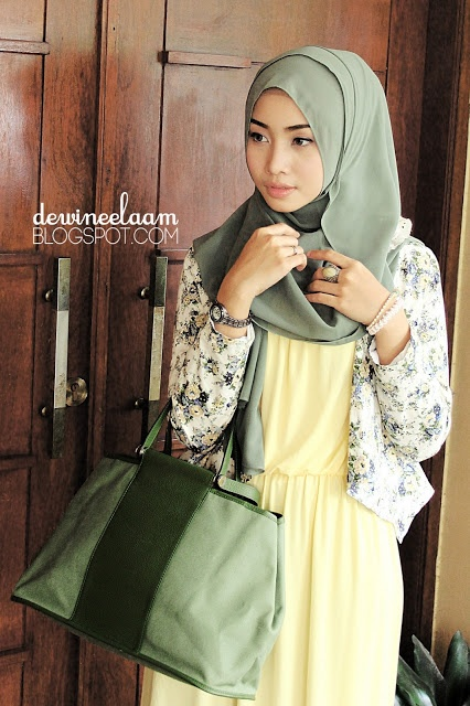 Pale yellow dress, floral cardigan, olive green scarf and bag