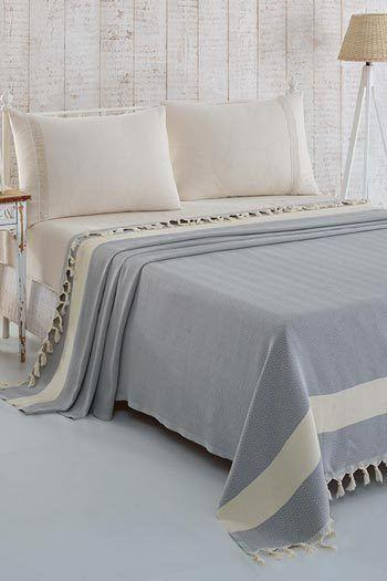 Világoskék pamut ágytakaró