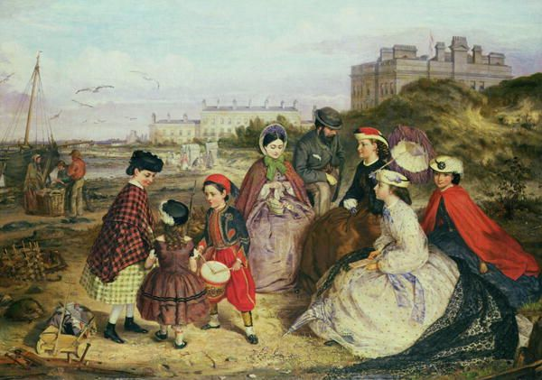 Victorian Family Photos | Victorian Family at the Seaside Painting by Charles Wynne Nicholls ...