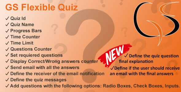 GS Flexible Quiz . GS Flexible Quiz helps you create your own responsive quiz quickly and is easly customizable with your