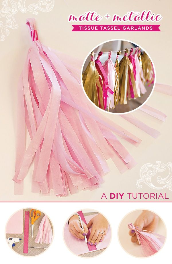 DIY Tutorial: Tissue Tassel Garland {Matte + Metallic} ~ uses tissue paper, or metallic paper, washi tape, twine, hot glue and BAM-- highly versatile party pizazz ~ hostesswiththemostess june 13, 2013 post
