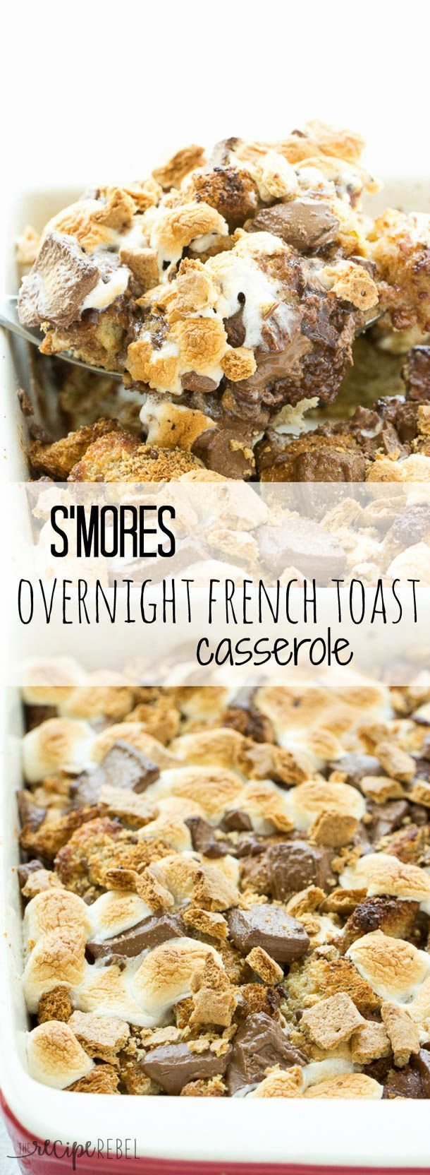 S'mores Overnight French Toast Casserole: An easy, overnight french toast casserole is topped with marshmallows, chocolate chunks and graham crackers and baked until irresistibly gooey -- the perfect breakfast, brunch or brinner to take you from summer ri