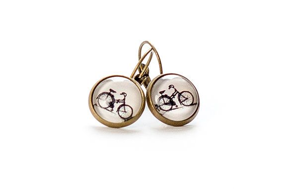 Bike  Earrings Bicycle  Brass  French Earwires Hook