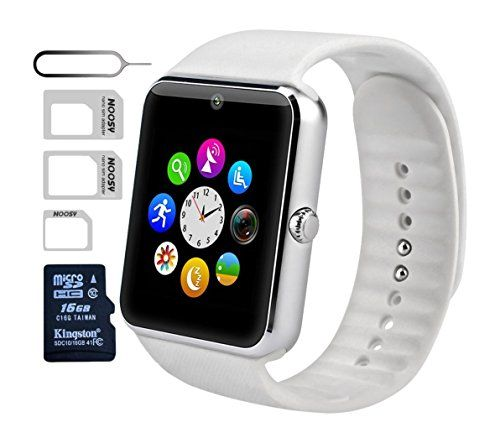 eMARS Smart Watch Bluetooth with 16 GB SD Card and Sim Card Slot for Android Samsung S5/S6 Note 4/5 HTC/Sony/LG and iPhone 5/5S/6/6 Plus Smartphones - White >>> Visit the image link more details.