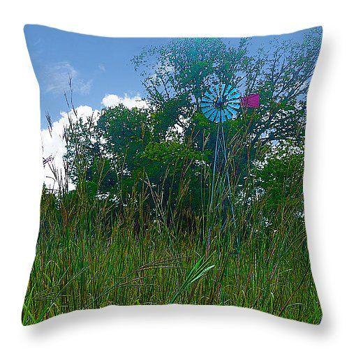 "Turkey Foot Grass and Aermotor Windmill Throw Pillow 14"" x 14"""