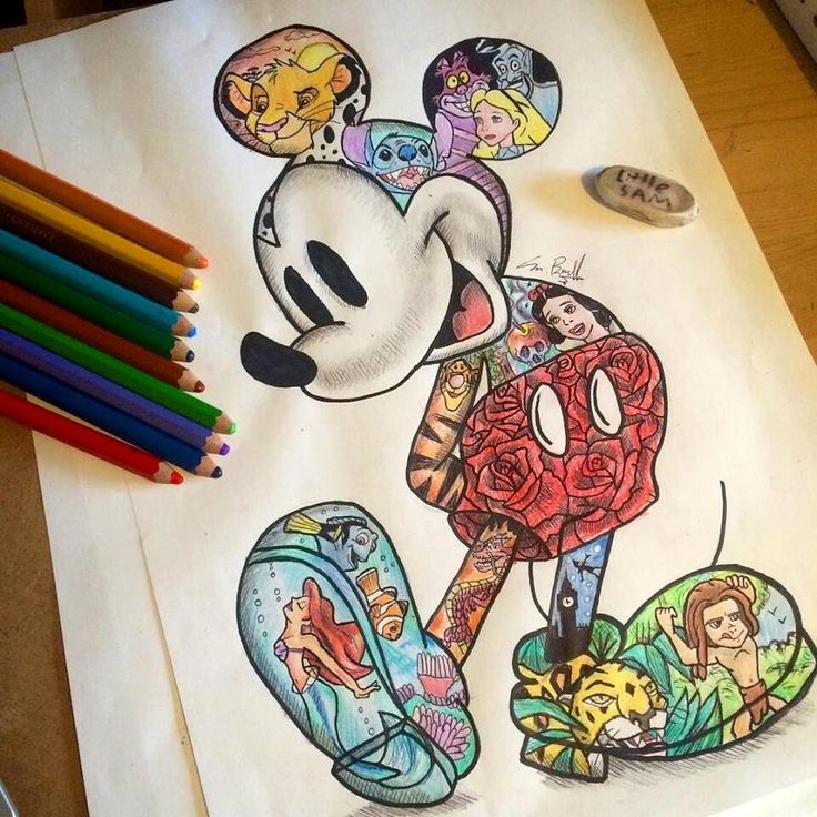 Mickey Mouse [feat. Simba, Stitch, the Cheshire Cat, Alice, Genie, Tigger, Snow White, Mushu, Dory, Marlin, Ariel as a mermaid, Peter Pan, Sabor & Tarzan] (Image Within by LittleSamsArt93 @Facebook) #Disney #TheLionKing #LiloAndStitch #AliceInWonderland #Aladdin #WinnieThePooh #SnowWhiteAndTheSevenDwarfs #Mulan #FindingNemo #TheLittleMermaid #PeterPan #Tarzan