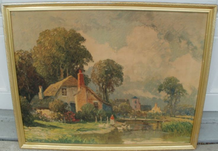 This is a vintage art piece of a woman by a pond with a cottage and beautiful landscape in the background, that is possibly over 50 years old. It is a... #cottage #pond #print #framed #over #couch #vintage