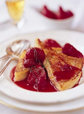 Pain Perdu with Warm Raspberries & Strawberries