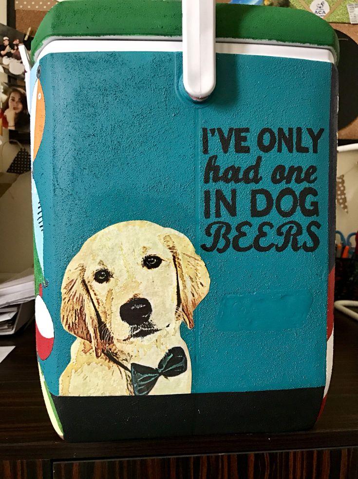 Frat cooler I've only had one in dog beers dog #frat #coolers #cooler #fraternity #painting #dog #puppy #beer #beers #dogbeers #modpodge #formal #deltasig #deltasigmaphi