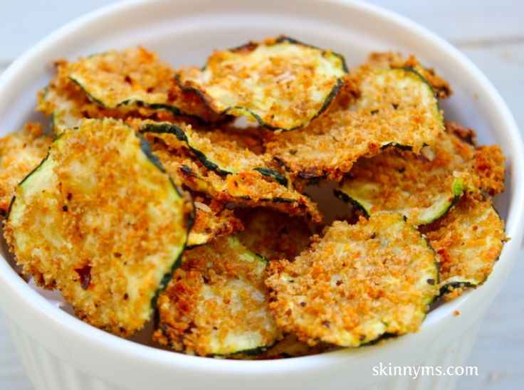 Oven Baked Zucchini chips are easy to make and under 100 calories per serving!
