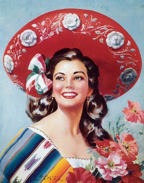 Love a woman that can carry off a sombrero!  Vintage art illustration.  DIY paper craft inspiration.  Mexico