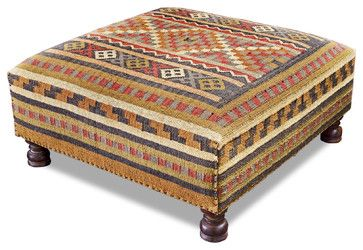 """Width 38.0""""  Depth 38.0""""  Height 16.0""""  $1080   Rae Plains Southwestern Rustic Kilim Square Coffee Table Ottoman transitional-ottomans-and-cubes"""