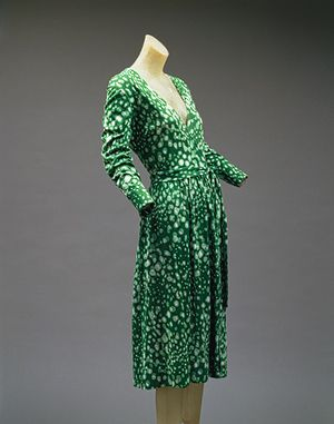 Wrap dress, 1975–76  Diane Von Furstenberg (American, born Brussels, 1946)  Green-and-white dotted cotton/rayon blend jersey