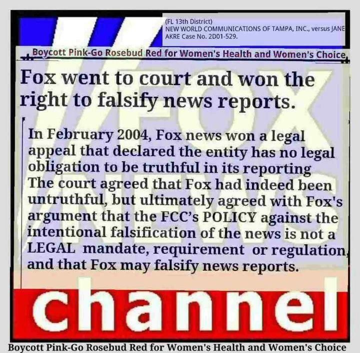 """NO LEGAL OBLIGATION TO BE TRUTHFUL!  People need to understand this.....they went to court and won the right to """"falsify news reports""""!"""