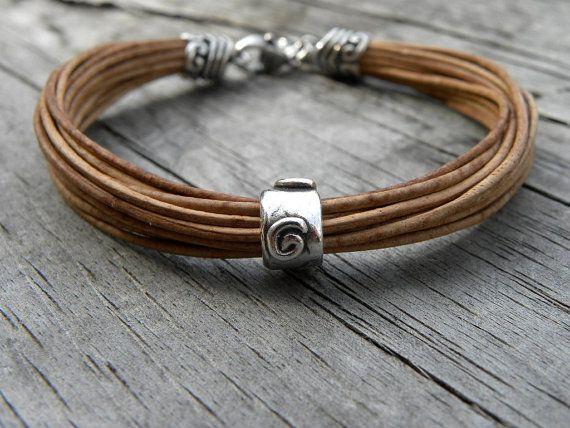 Sterling Silver Leather Bracelet Multiple Strands от TANGRA2009