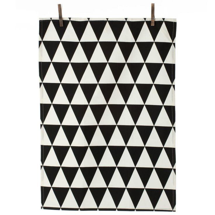 Triangle kökshandduk, svart – Ferm Living – Köp online på Rum21.se