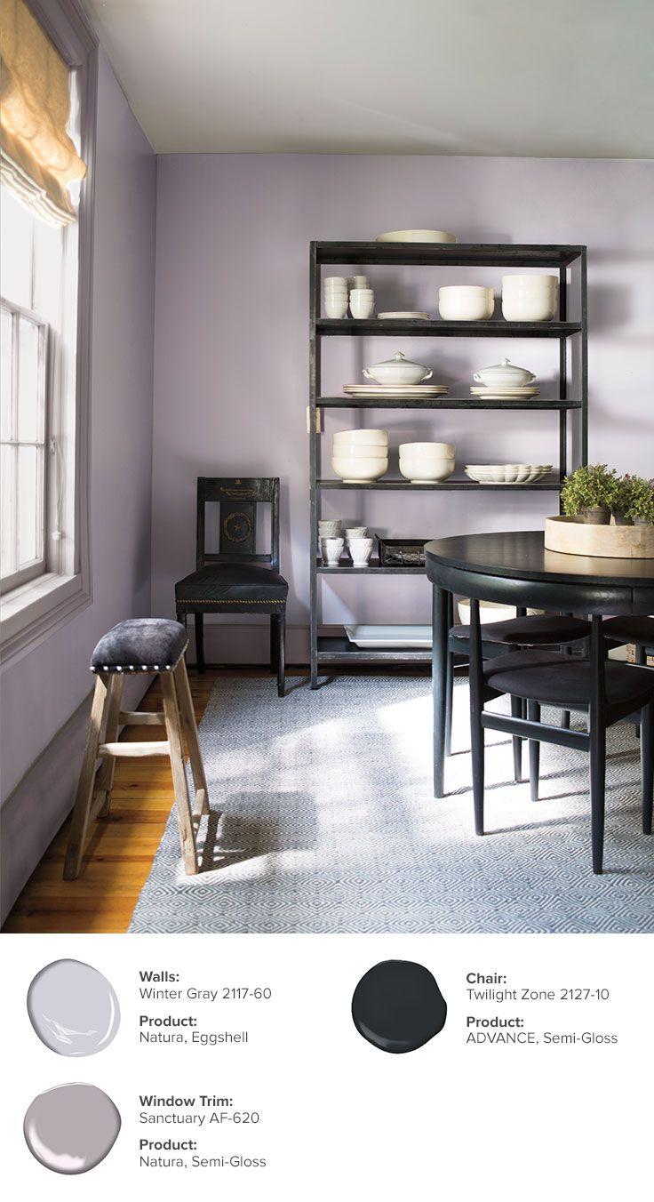 Winter Gray 2117-60 is just one the colors that makes up this beautiful  dining room. Walls: Winter Gray 2117-60, Natura®, Eggshell \\ Window Trim:  Sanctuary ...