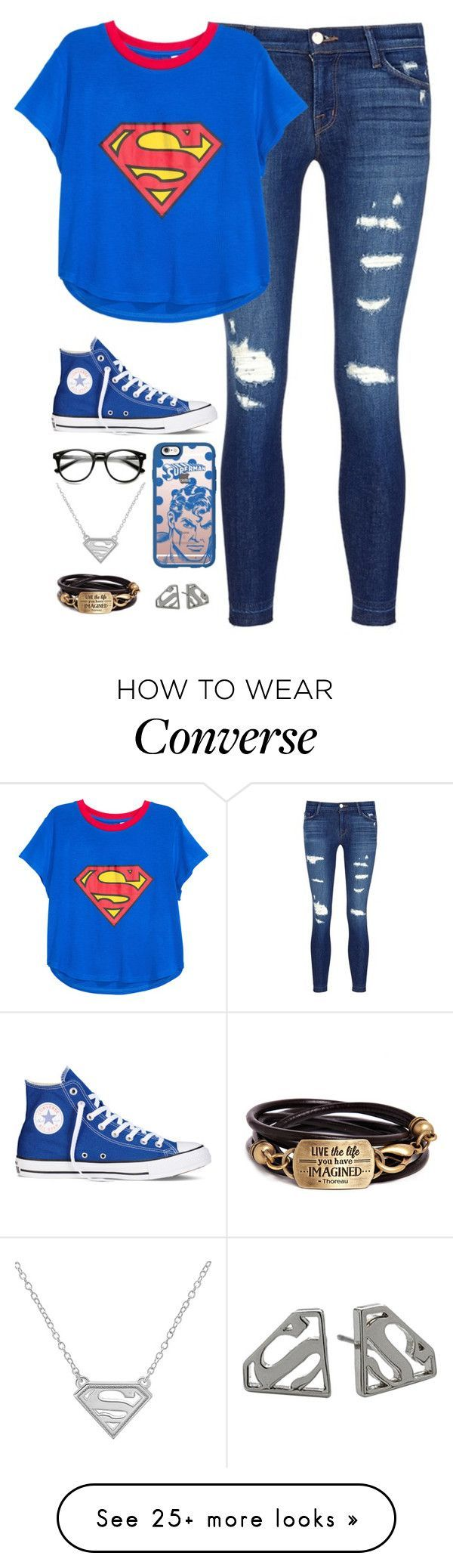 Untitled #46 by kasaikayla on Polyvore featuring J Brand, H&M, Converse, Casetify and Noir