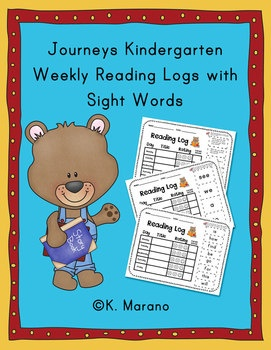 Kindergarten Journeys reading logs with sight word flashcards.